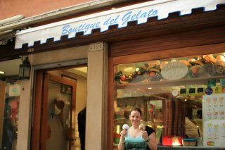 Kate with Gelato in Venice